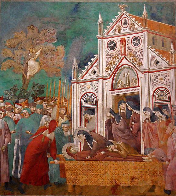 GIOTTO, Compianto delle Clarisse, 1290-95, affresco_ Assisi, Basilica superiore di San Francesco