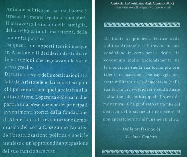 La costituzione degli atniesi , Aristotele - Il sasso nello stagno di AnGre